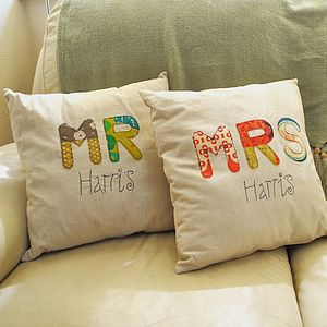 Personalised Mr And Mrs Linen Cushion Cover