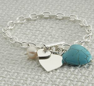 Personalised Sterling Silver Turquoise Heart Bracelet