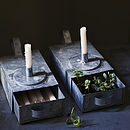 Thora Zinc Candle Holder, Set Of Two