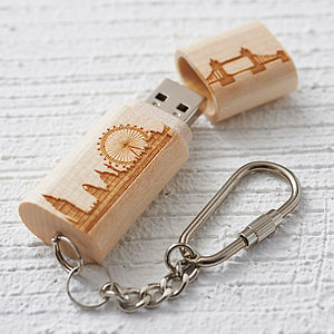 Wooden London Skyline Usb Keyring - technology gifts