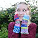 Colourful Knitted Eco Fingerless Mittens