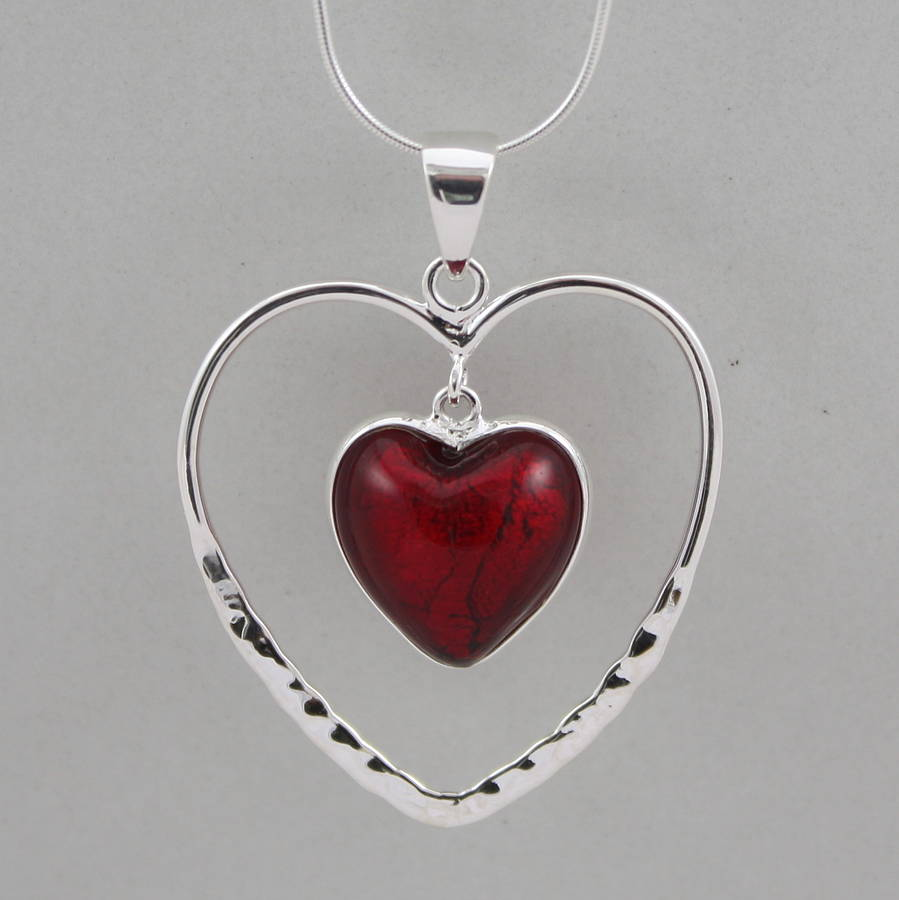 Silver Heart: Silver Heart Within A Heart Pendant By Claudette Worters