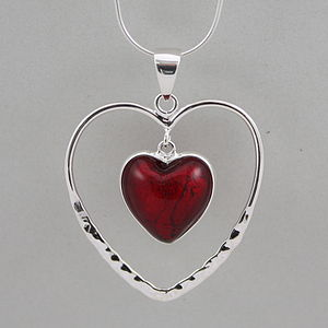 Silver Heart Within A Heart Pendant