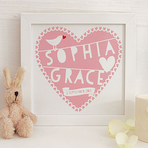 Personalised Heart New Baby Framed Print - posters & prints