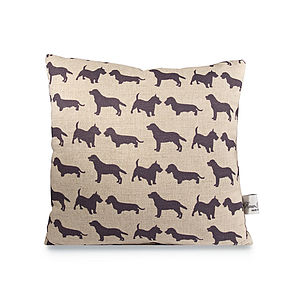 Dogs Linen Cushion - patterned cushions