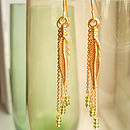 Long Gold Feather Earrings
