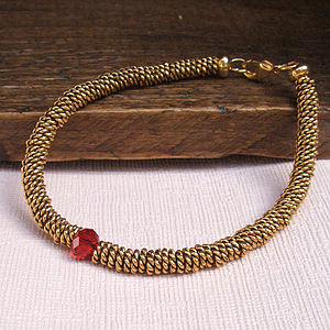 Gold Friendship Bracelet With Red Crystal - bracelets & bangles