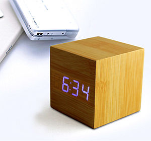 Cube Beech Click Clock - living room