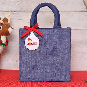 Teacher Christmas Personalised Jute Bag - ribbon & wrap