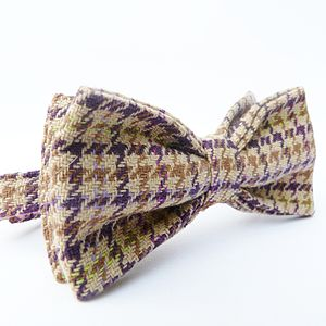 Houndstooth Plaid Tweed Bow Tie