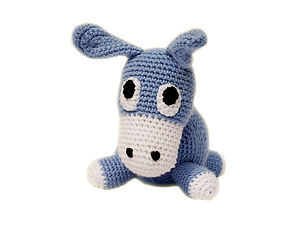 Knitted Hippo,Donkey, Frog, Rooster And Penguin Rattles - toys & games