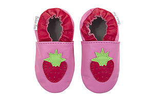 Strawberry Leather Baby Shoes