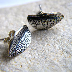 Silver Leaf Imprint Earrings