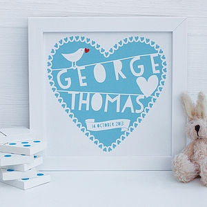 Personalised Blue Heart New Baby Framed Print - nursery pictures & prints