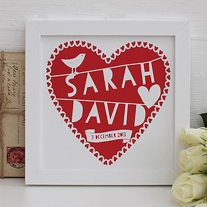 Personalised Red Heart Framed Print - home accessories