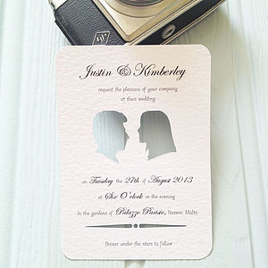 Personalised Silhouette Wedding Stationery - save the date cards