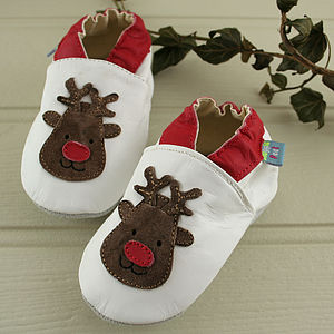 Christmas Reindeer Soft Leather Baby Shoes - for babies