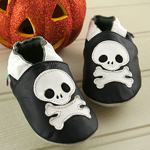 Skull And Cross Bones Soft Leather Baby Shoes