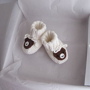 Hand Knitted Bear Booties - clothing
