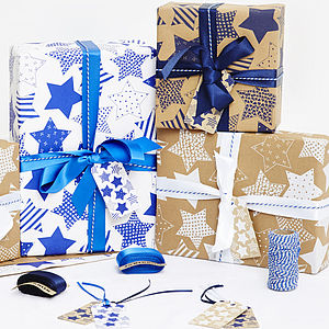 Stars Christmas Gift Wrap Set - ribbon & wrap
