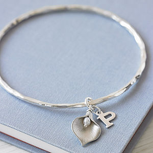 Silver Initial Lily Bangle - for mothers