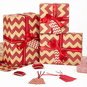 Red Chevron Brown Christmas Wrapping Paper - ribbon & wrap