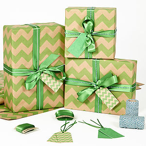 Green Chevron Brown Christmas Wrapping Paper - ribbon & wrap