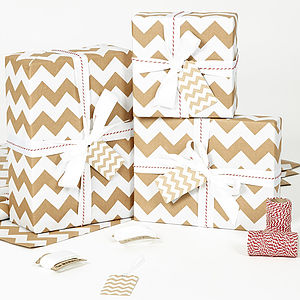 White Chevron Brown Christmas Wrapping Paper - ribbon & wrap