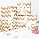 White Chevron Brown Christmas Wrapping Paper
