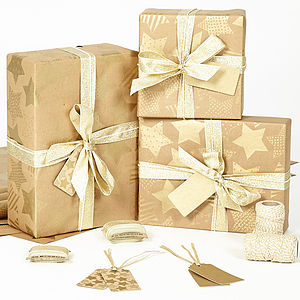 Gold Stars Brown Wrapping Paper - gift wrap sets