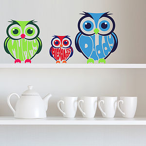 Personalised Owl Wall Art Stickers