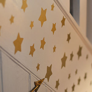 Christmas Gold Stars Wall Sticker Set - bedroom