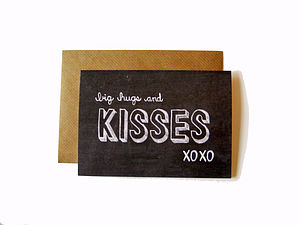 'Big Hugs And Kisses' Chalkboard Card