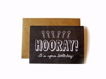 'Hooray It's Your Birthday' Chalkboard Card