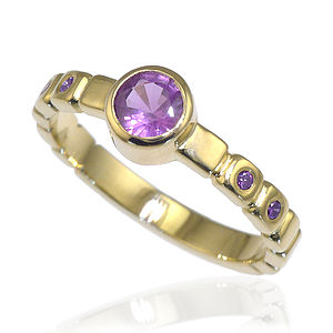 Purple Sapphire And Diamond Ring In 18ct Gold - rings