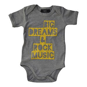 'Big Dreams' Baby Bodysuit Heather Grey - gifts for babies