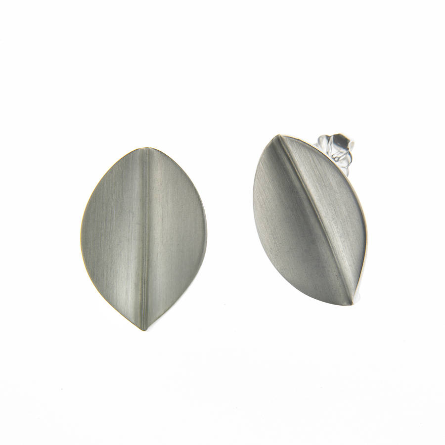 large silver leaf earrings by louise designs