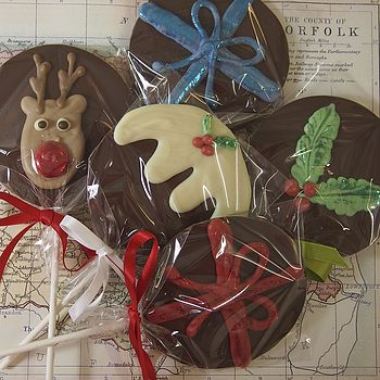 Five Christmas Chocolate Lollies