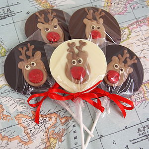 Five Christmas Chocolate Reindeer Lollies - chocolates
