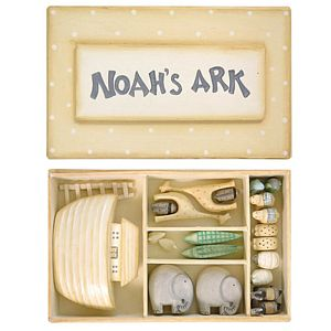 Miniature Wooden Noah's Ark Gift Set - christening gifts