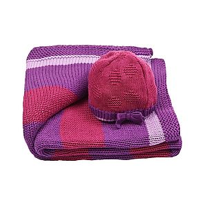 Girl's Stripy Blanket And Bow Hat Gift Set - babies' hats