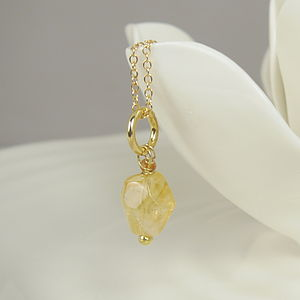 22 K Gold Plated Citrine Necklace - necklaces & pendants