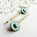 Turquoise Glass Beetle Hairslides