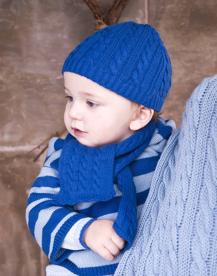 Knitting Pattern For Baby Hat And Scarf : baby boys cable knit hat and scarf gift set by toffee moon notonthehighstre...