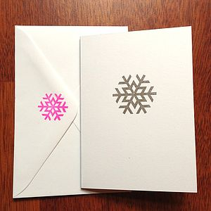 Pack Of Five Snowflake Stamp Cards