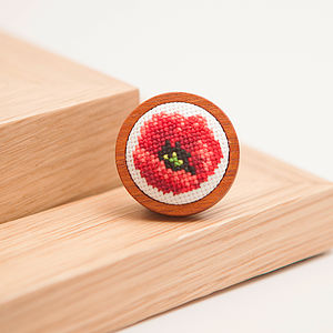 Hand Embroidered Poppy Brooch