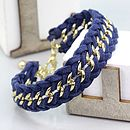 Suede And Gold Braided Chain Bracelet