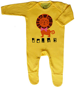 Personalised Handprinted Lion Babygrow - babygrows
