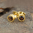 Gold And Smokey Quartz Circle Stud Earrings
