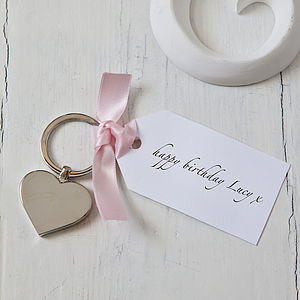 Personalised Heart Keyring With Tag - keyrings